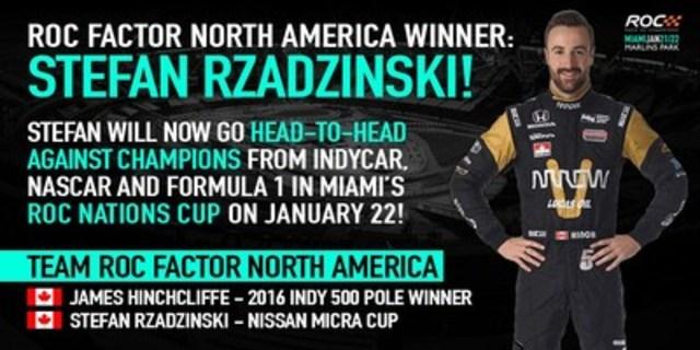 Affiche Race Of Champions annonçant le gagnant nord-américain, le pilote de la Coupe Nissan Micra, Stefan Rzadzinski, d'Edmonton, en Alberta (Groupe CNW/Nissan Canada Inc.)