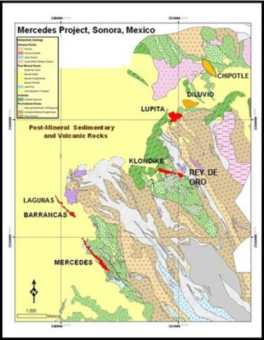 Figure 1 Mercedes Regional Geology and target areas (CNW Group/Premier Gold Mines Limited)