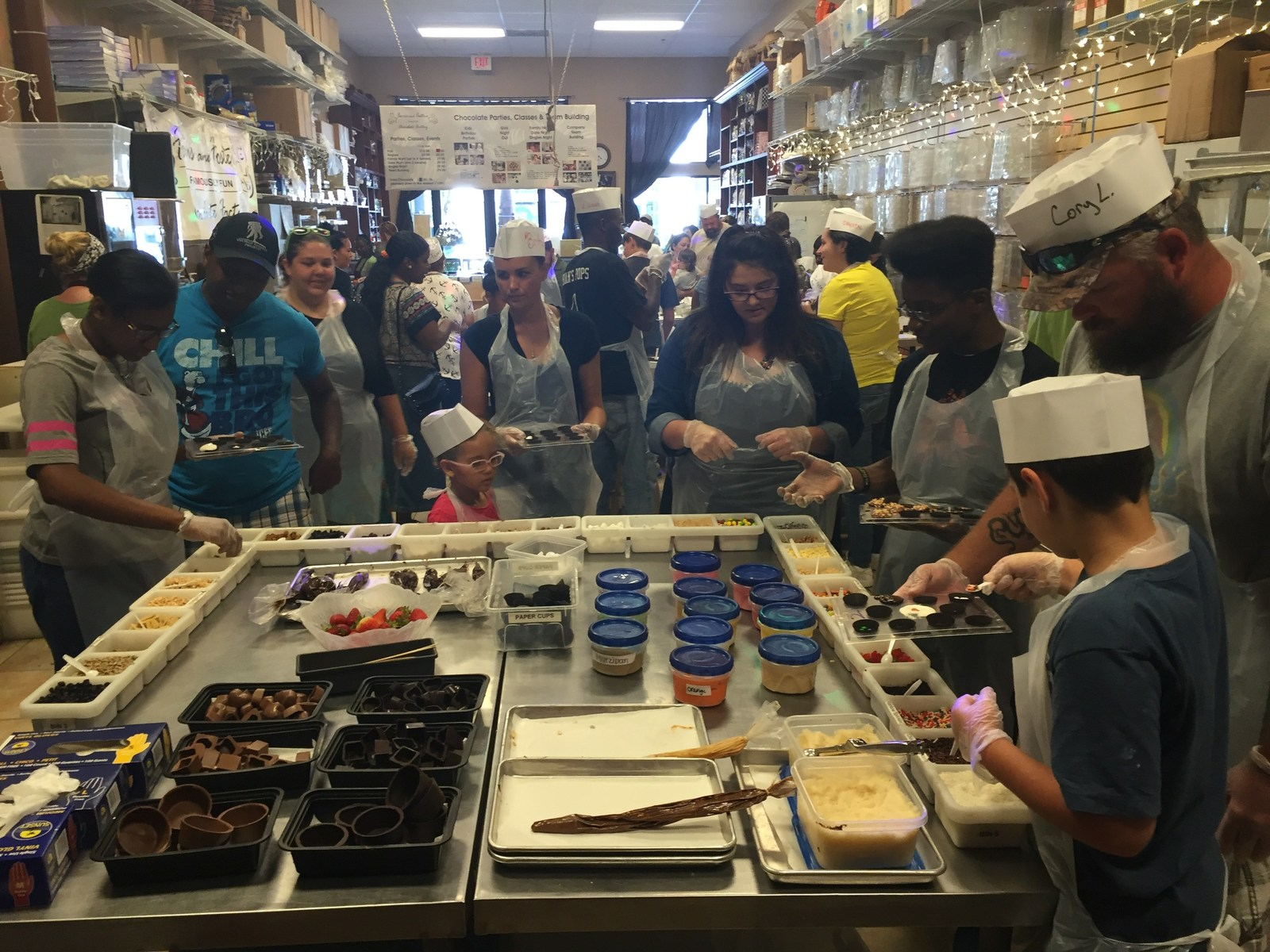A group of Wounded Warrior Project(R) (WWP) veterans and family members got to experience a day in the life of a chocolatier during a recent candy-making connection event.