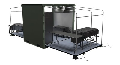 The EISU Flex Kitchen (shown without canvas) is the 3-in-1 expandable version of the ISU(R) Containers that have been used by the military for over 25 years and manufactured by AAR Mobility Systems. This rapidly deployable containerized kitchen occupies only one pallet position, but is expandable to 399 cubic feet and utilizes the same energy, water, and manpower-efficient kitchen equipment.
