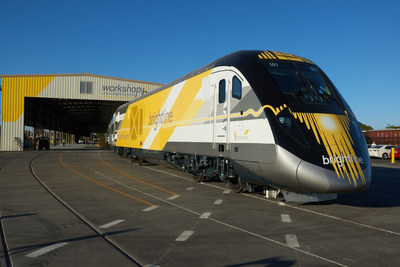 The first Brightline Trainset at Workshop b in West Palm Beach, Fla.