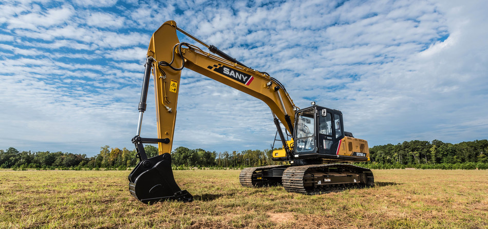 The newly launched SANY SY215C excavator with Cummins Tier 4 Final engine and SANYLive GPS system