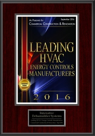 Innovative Dehumidifier Systems Recognized as Leading HVAC Energy Controls Manufacturer for 2016