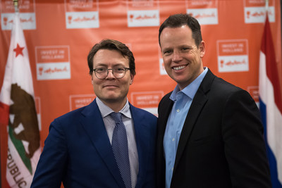 The Netherlands HRH Prince Constantijn van Oranje (left) and Scott Roth, CEO of Jama Software, Portland Oregon, are pictured at an investment dinner on Jan. 10, 2017 at the Silicon Valley Capital Club. The dinner was organized by the Netherlands Foreign Investment Agency (NFIA) as part of an economic mission to California led by Netherlands Minister for Economic Affairs Henk Kamp.
