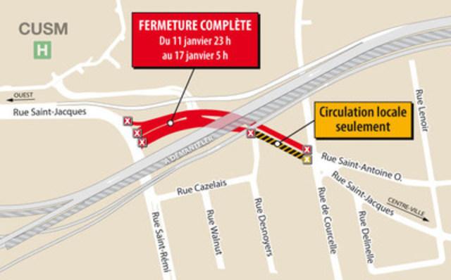 Fermeture rue Saint-Jacques – 11 au 17 janvier (Groupe CNW/Ministère des Transports, de la Mobilité durable et de l'Électrification des transports)
