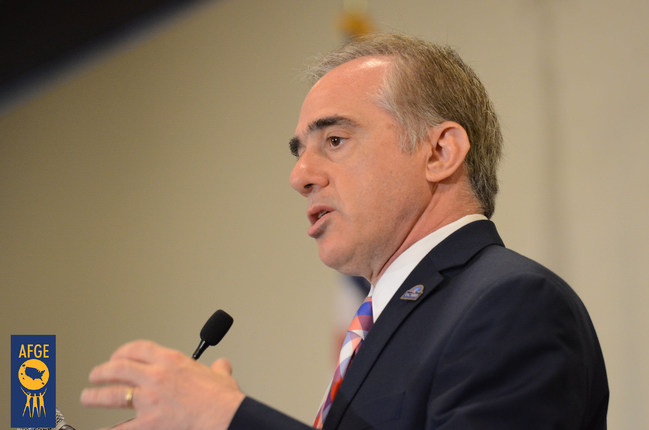 """Dr. David Shulkin, President-elect Donald J. Trump's pick to lead the Department of Veterans Affairs, is a """"strong choice"""" who is committed to continuing the VA's reputation as a world-class health care system, says J. David Cox Sr., national president of the American Federation of Government Employees, which represents more than 220,000 VA workers. Shulkin spoke in June 2016 at the summit, """"Keeping the Promise: What's Next for the VA?"""" Photo: AFGE"""