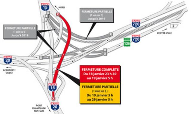 Fermeture d'une voie sur deux de l'autoroute 15 en direction nord du 19 au 29 janvier 2017 (Groupe CNW/Ministère des Transports, de la Mobilité durable et de l'Électrification des transports)
