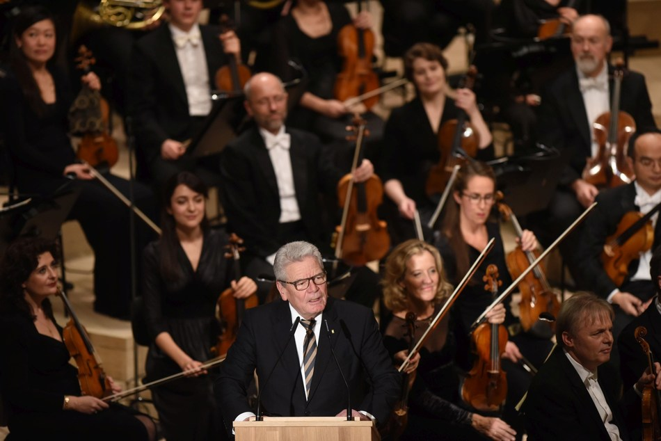 Federal President Joachim Gauck during his speech at the opening ceremony for the new concert hall in the Hamburg harbour CR: Hamburg Musik gGmbH Michael Zapf (PRNewsFoto/Elbphilharmonie Hamburg)