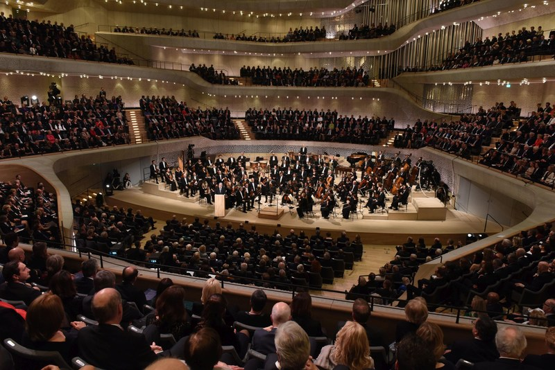 The NDR Elbphilharmonie Orchestra under the direction of its Chief Conductor Thomas Hengelbrock on stage in the Grand Hall during the festivities CR: Hamburg Musik gGmbH Michael Zapf (PRNewsFoto/Elbphilharmonie Hamburg)