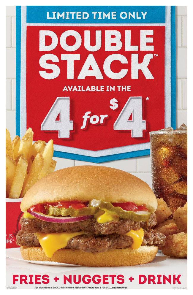 Wendy's is doubling down and offering an unbelievable deal. For a limited time, customers can choose the Double Stack as their sandwich option in the 4 for $4 Meal. Made with more than a ¼ lb. of Wendy's fresh, never-frozen beef, the Double Stack is topped with a slice of American cheese, crinkle cut dill pickles, fresh red onions, ketchup, and mustard - all served on a warm bun. The 4 for $4 Meal, also includes all white-meat chicken nuggets, a small fry and small drink.