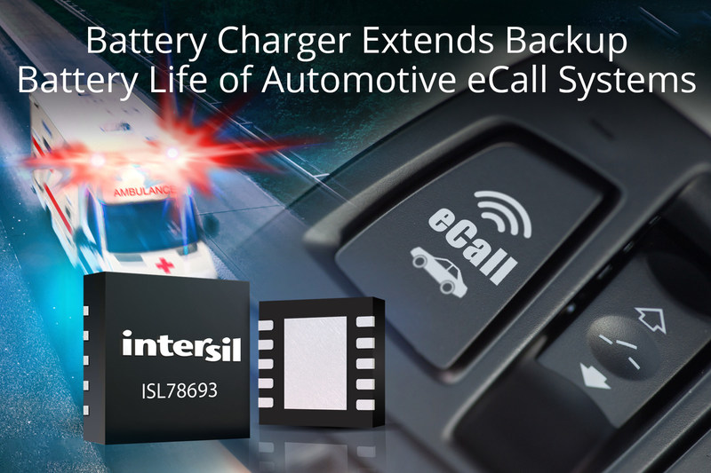 Intersil's highly integrated ISL78693 3.6V single-cell battery charger extends the life of Lithium Iron Phosphate (LiFePO4) batteries used in automotive emergency call (eCall) systems.