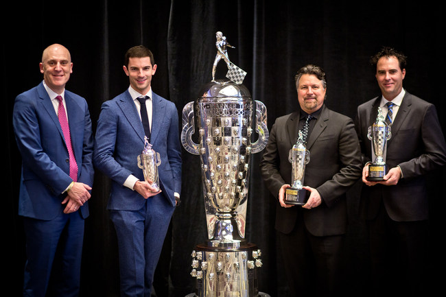 From left to right: BorgWarner President and Chief Executive Officer James Verrier presented 2016 Indianapolis 500 winner Alexander Rossi with a BorgWarner Championship Driver's Trophy(TM) and team owners Michael Andretti and Bryan Herta with a BorgWarner Championship Team Owner's Trophy(TM).