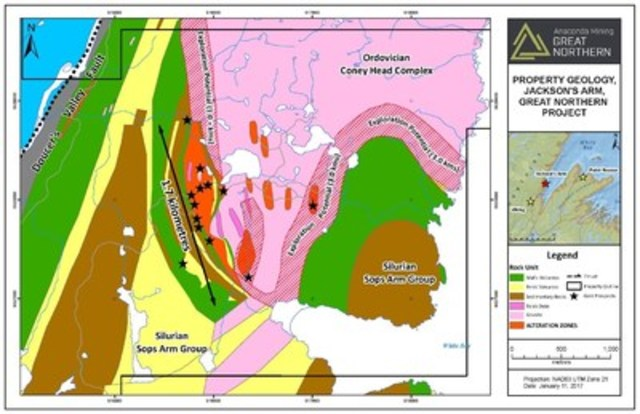 Exhibit A:  A geological map showing the detailed mapping of the alteration zone within the Jackson's Arm property, part of the Great Northern Project, illustrating the extent of known mineralization and alteration as well as the increased exploration potential (4 kilometres). (CNW Group/Anaconda Mining Inc.)