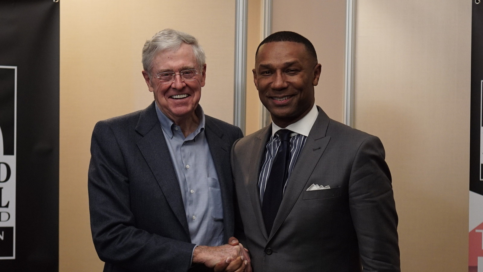 Charles G. Koch, chairman of the board and CEO of Koch Industries Inc., with Johnny C. Taylor Jr., president & CEO of the Thurgood Marshall College Fund (TMCF) at the TMCF 2016 Leadership Institute.