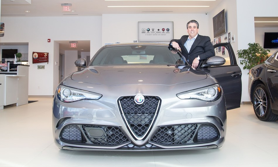 Tom Maoli, CEO/Dealer Principal of Celebrity Motor Car Company, next to a 500 plus horsepower Alfa Romeo Giulia Quadrifoglio RWD.  Alfa Romeo is the newest franchise to the Celebrity brand.