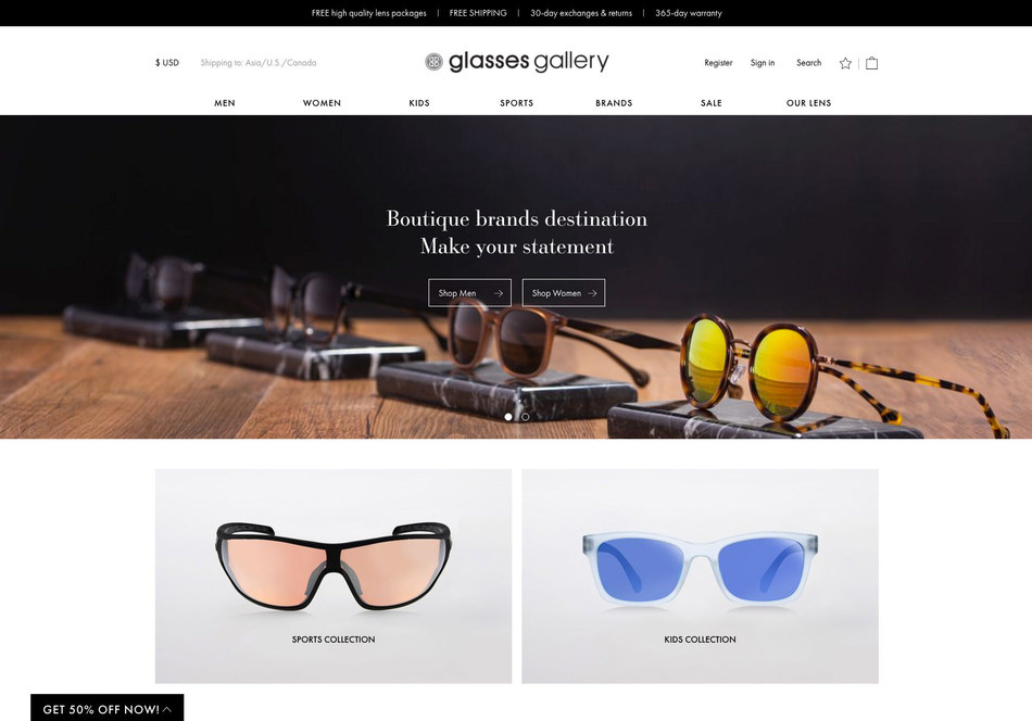 Glasses Gallery Website