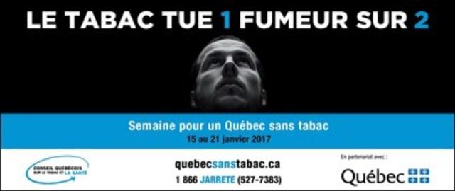 Semaine pour un Québec sans tabac 2017 : le tabac tue 1 fumeur sur 2 (Groupe CNW/Conseil québécois sur le tabac et la santé)