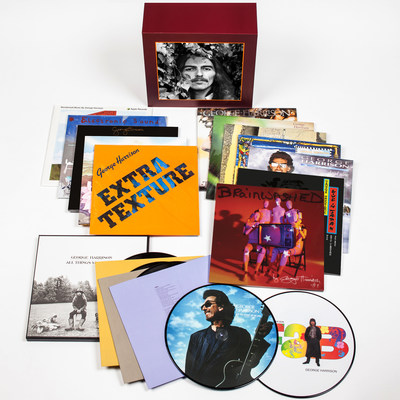 """GEORGE HARRISON'S VINYL BOX AND BOOK RELEASE ON FEBRUARY 24TH TO MARK HIS 74th BIRTHDAY -- GEORGE HARRISON - THE VINYL COLLECTION  Vinyl Box Set Includes Thirteen Albums From 1968-2002, plus 12"""" Picture Discs -- I ME MINE - THE EXTENDED EDITION book contains 59 Additional Handwritten Lyrics, Photographs and Memories to be Published in New Extended Edition"""