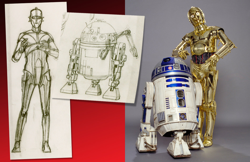 (Left) Concept Art, C-3PO and R2-D2. Star Wars(TM): A New Hope. (Right) R2-D2, Star Wars(TM): A New Hope and C- 3PO, Star Wars(TM): The Empire Strikes Back. Both images (C) & (TM) 2016 Lucasfilm Ltd. All rights reserved. Used under authorization.