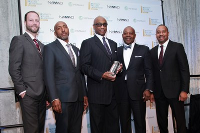 Honda's Accord Named Top Overall Ethnic Vehicle. From Left to Right: Bryan Funke, VP OEM Sales (IHS Markit) and Marc Bland Vice President of Diversity & Inclusion (IHS Markit), Marc Burt Assistant VP Office of Inclusion & Diversity (American Honda), Perry Watson, Chairman (NAMAD) and Damon Lester, President (NAMAD) (PRNewsFoto/NAMAD)