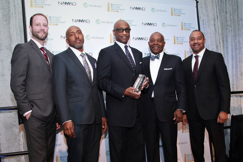 Honda's Accord Named Top Overall Ethnic Vehicle. From Left to Right: Bryan Funke, VP OEM Sales (IHS Markit) and Marc Bland Vice President of Diversity & Inclusion (IHS Markit), Marc Burt Assistant VP Office of Inclusion & Diversity (American Honda), Perry Watson, Chairman (NAMAD) and Damon Lester, President (NAMAD)