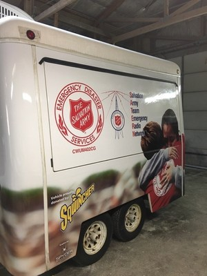Salvation Army disaster relief communications and distribution trailer, donated by Sqwincher Corporation.