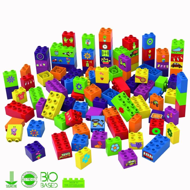 Enviroment-friendly toy blocks made of 100% biobased material (PRNewsFoto/BanBao)