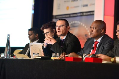 Senior decision-makers take part in a panel discussion at the Powering Africa: Summit in 2016 (PRNewsFoto/EnergyNet)