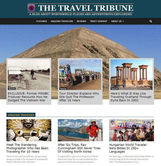 Screenshot of The Travel Tribune