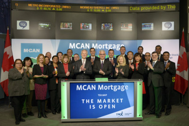 Bill Jandrisits, President & Chief Executive Officer, MCAN Mortgage Corporation (MKP) joined Ungad Chadda, President, Capital Formation, Equity Capital Markets, TMX Group to open the market to celebrate 25 years listed on Toronto Stock Exchange. MCAN is a mortgage investment corporation that invests in a diversified portfolio of Canadian mortgages focused on single-family residential mortgages and residential construction loans, as well as other types of loans and investments, real estate and securitization investments. MCAN Mortgage Corporation commenced trading on Toronto Stock Exchange on Jan 16, 1992. (CNW Group/TMX Group Limited)