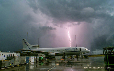Lightning at Cape Canaveral Air Force Station nearly scrubbed the scheduled launch of the CYGNSS satellites from a Pegasus rocket carried aloft by a jet aircraft. The mission countdown was able to proceed when data from a lightning surveillance system proved that the launch vehicle and its payload were not damaged by the electrical storm. This strike was recorded on Dec. 6, 2016 by the lightning surveillance system designed and operated by Scientific Lightning Solutions LLC. Photo Credit: Orbital ATK, Inc.