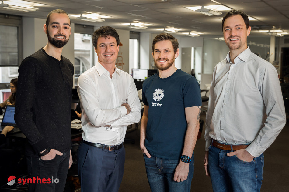 Synthesio, the leading global Social Intelligence and Social Listening platform acquired online report builder Bunkr.   From L to R are Bunkr Co-Founder Alexis Jamet, Synthesio CEO Loic Moisand, Bunkr Co-Founder Edouard Petit and Synthesio CTO Thibault Hanin