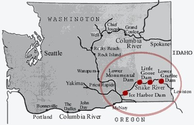 Map of Lower of Snake River Dams in Washington State