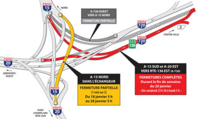 Fermeture complète de la route 136 est (A-720 est) (Groupe CNW/Ministère des Transports, de la Mobilité durable et de l'Électrification des transports)