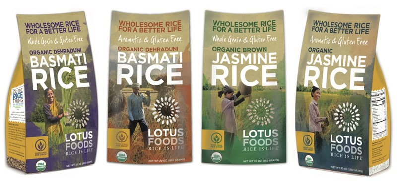 """Lotus Foods newest retail offering gives consumers an opportunity to experience two of the world's most exceptional rices at an affordable price. Now available in 30 oz packaging are Cambodia's prized Phka Malis Jasmine Rice--awarded World's Best Rice--and India's authentic heritage Dehraduni Basmati Rice, also called """"the mother of all basmati."""" Both are grown on small family farms using methods that increase yields with less water, seed and work for women."""