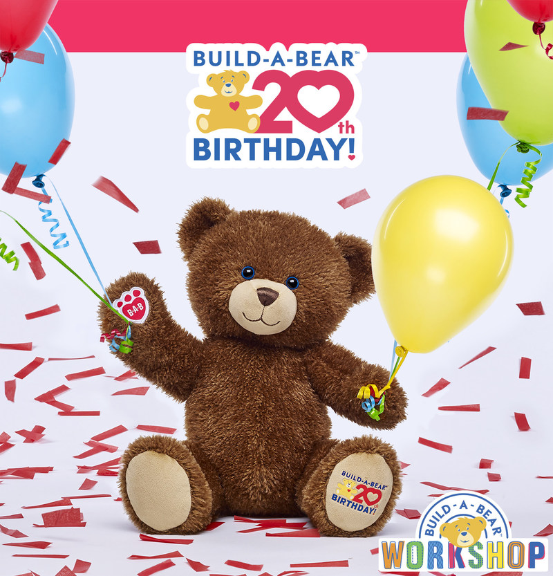 Build-A-Bear Workshop begins 20th year with gratitude, new 20th Birthday Celebration Bear and 'Parties on the 20th' to thank Guests for two decades of heartfelt fun.