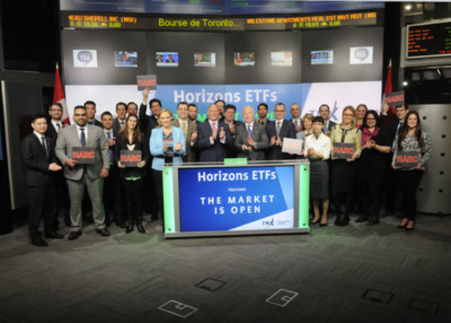 Steve Hawkins, President and Co-CEO, Horizons ETFs, joined Dani Lipkin, Head, Business Development, Exchange Traded Funds, Closed-End Funds, and Structured Notes, TMX Group to open the market to launch Horizons Absolute Return Global Currency ETF (HARC). Horizons ETFs is a financial services company and a subsidiary of the Mirae Asset Financial Group. Horizons ETFs currently has 76 ETFs listed on Toronto Stock Exchange with a market value of approximately $7 billion. HARC commenced trading on Toronto Stock Exchange on January 17, 2017. (CNW Group/TMX Group Limited)