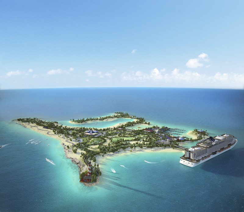 Future aerial view of Ocean Cay MSC Marine Reserve.