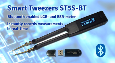 Bluetooth enabled Smart Tweezers LCR- and ESR-meter remotely records measurements using National Instruments LabView and other dedicated apps for iOS and Android