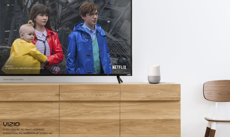 VIZIO SmartCast devices now compatible with Google Home. Google Home users can now enjoy hands-free control of their VIZIO SmartCast TVs, displays, sound bars and speakers.