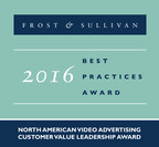 Frost & Sullivan recognizes Videology with the 2016 North American Customer Value Leadership Award. (PRNewsFoto/Frost & Sullivan)