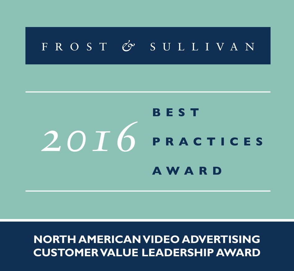 Frost & Sullivan recognizes Videology with the 2016 North American Customer Value Leadership Award. (PRNewsFoto/Frost & Sullivan)