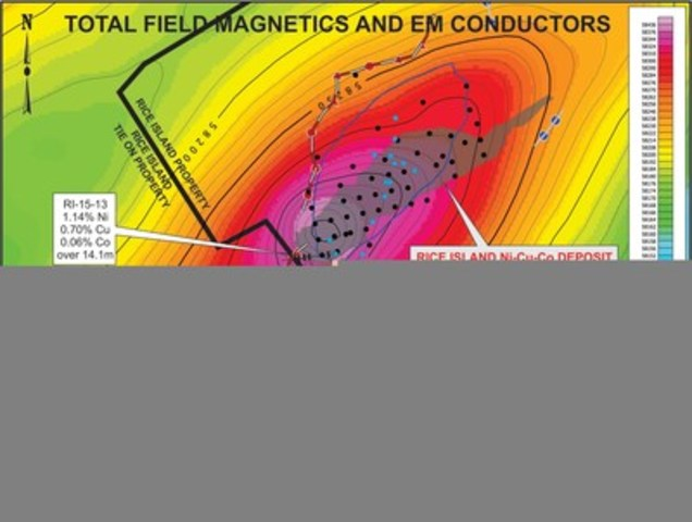 Figure 1: Total Field Magnetics and EM Conductors (CNW Group/Wolfden Resources Corporation)