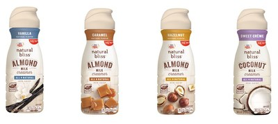 COFFEE-MATE(R) natural bliss(R) Vanilla Almond Milk, Caramel Almond Milk, Hazelnut Almond Milk and Sweet Creme Coconut Milk