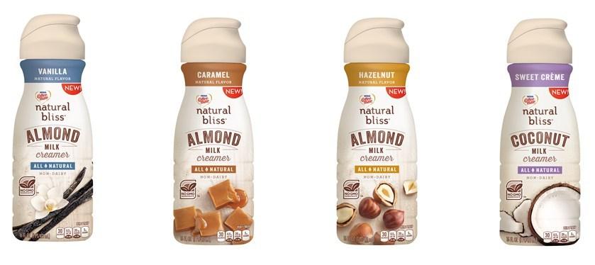 COFFEE-MATE(R) natural bliss(R) Vanilla Almond Milk, Caramel Almond Milk, Hazelnut Almond Milk and Sweet Creme Coconut Milk