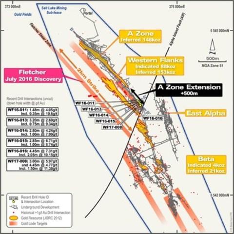 Figure 1 : Vue en plan de la mine Beta Hunt indiquant l'emplacement du prolongement de la zone A. (Groupe CNW/RNC Minerals)
