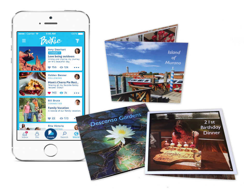 "Booxie can turn special memories, ideas, and interests into imaginative digital stories that can be shared immediately over social networks, through email and SMS, as well as kept forever or gifted as printed 4.25"" by 4.25"" photo books."