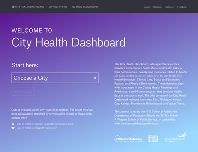 The homepage of the City Health Dashboard, a new resource for city leaders seeking reliable health data.  http://www.cityhealthdashboard.com