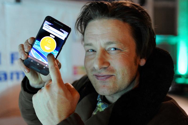 Jamie Oliver at the Zero Hunger PokeStop in Davos (PRNewsFoto/Niantic and The Pokemon Company)