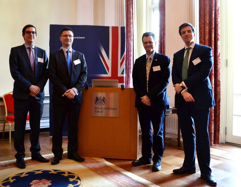 L-R Sam Hounslow (NuGen's Head of Commercial Development), Gary Shuttleworth (Corporate Affairs Director, NuGen), Dr Keith Franklin MBE (Department for International Trade) and Alastair Evans (Head of Government Affairs, NuGen). (PRNewsFoto/NuGen)